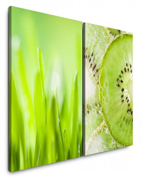 2 Bilder je 60x90cm Hellgrün Gras Grashalme Kiwi Frisch Essen Küche