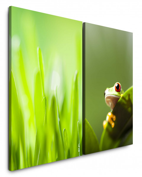 2 Bilder je 60x90cm Gras Grashalme Frosch Grün Wiese Makro Makrofotografie