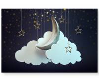 Premium Leinwandbild Mond mit goldenen Sternen und Wolken