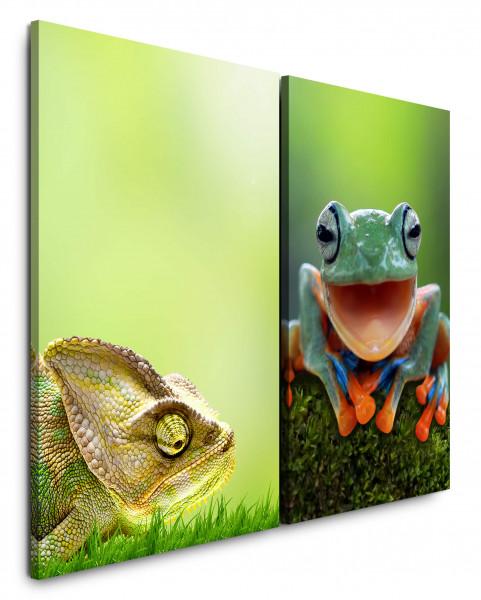 2 Bilder je 60x90cm Chamäleon Grün Frosch Lächeln Fröhlich Tropisch Gras