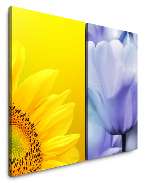 2 Wandbilderje 60x90cm Sonnenblume Gelb Sommer Tulpe Nahaufnahme Warm Makrofotografie