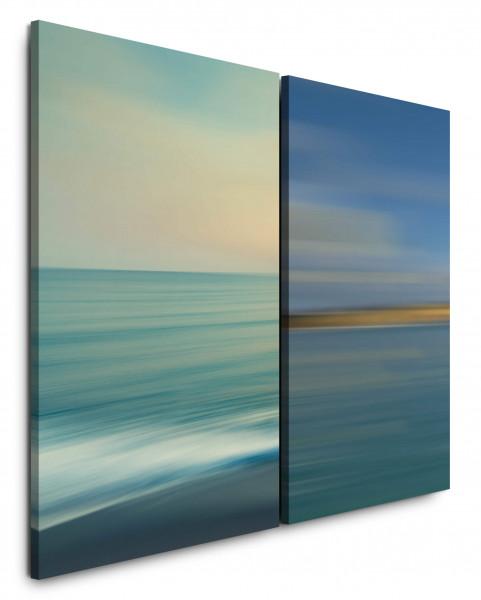 2 Bilder je 60x90cm Meer Horizont Pastelltöne Beruhigend Sanft Blau Friedlich