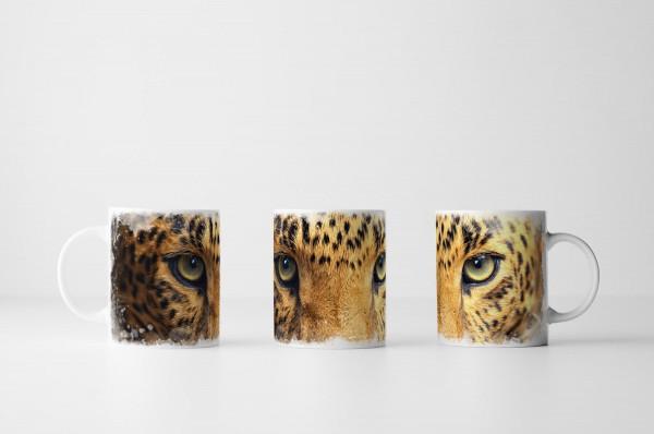 Tasse Porträt eines Leopards