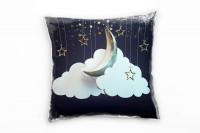 Sterne und Mond Deko Kissen