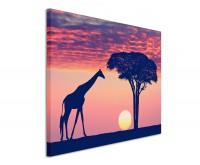 Leinwandbild Giraffe in der Savanne