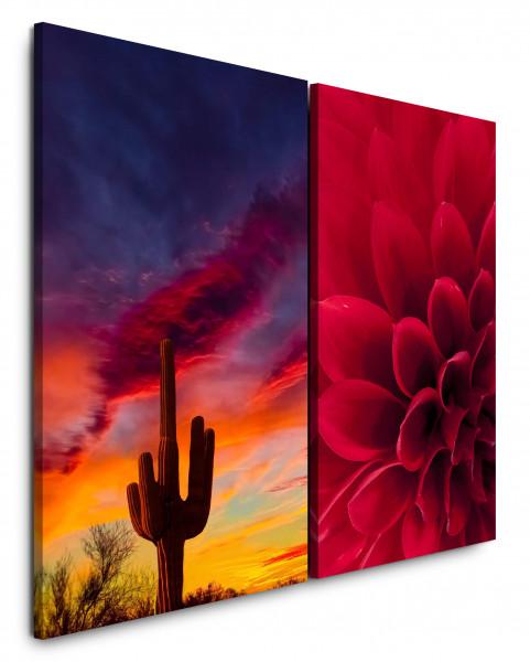 2 Bilder je 60x90cm Dahlie Arizona Kaktus Roter Himmel Wüste Sonnenuntergang