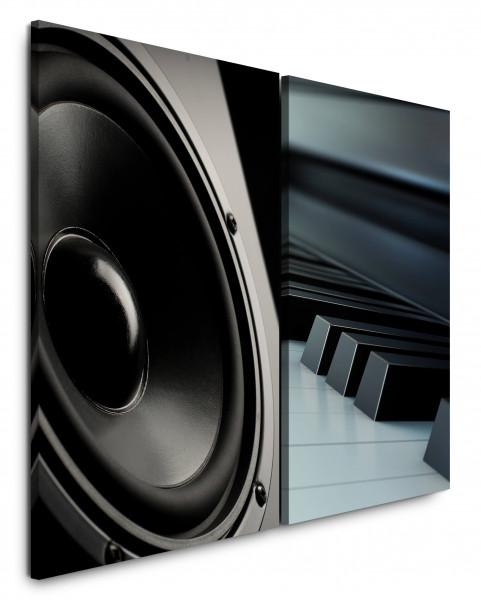 2 Wandbilderje 60x90cm Lautsprecher Musik Klavier Klaviertasten Schwarz Weiß Audiophile