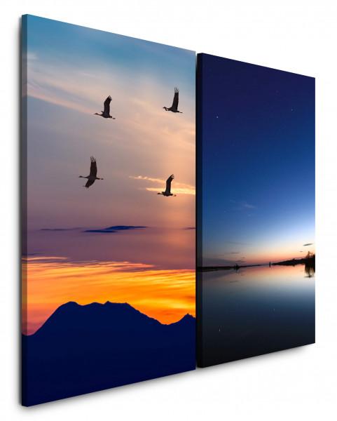 2 Bilder je 60x90cm Kraniche Vögel Berge Japan See Sonnenuntergang Fliegen