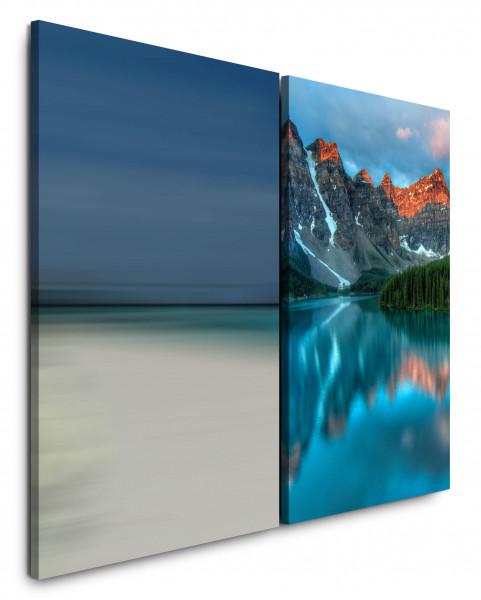 2 Wandbilderje 60x90cm Bergsee Alaska Horizont Berge Tannenwald Blau Himmel