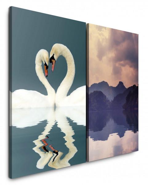2 Bilder je 60x90cm Liebe Schwäne Herz Romantisch Berge See Wolken