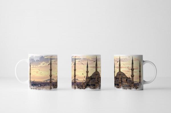 Tasse Malerische Moschee mit Möwen
