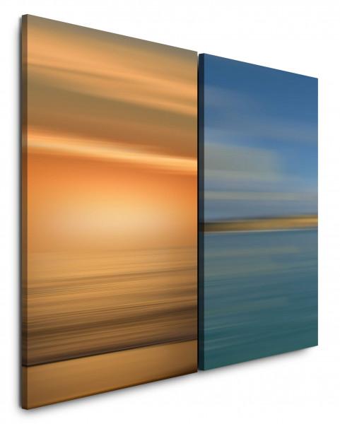 2 Bilder je 60x90cm Gold Türkis Modern Wellen Sonnenuntergang Horizont Minimal