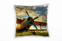 Doppeldecker Flugzeug Deko Kissen