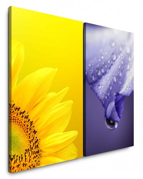 2 Wandbilderje 60x90cm Sonnenblume Gelb Violett Tropfen Nahaufnahme Blumen Sommer