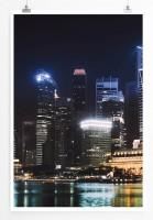 Poster Singapur bei Nacht