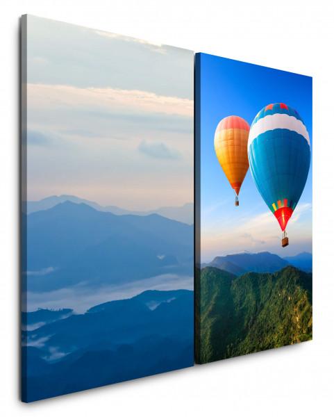2 Bilder je 60x90cm Berge Blau Himmel Freiheit Heizluftballon Fliegen Wolken