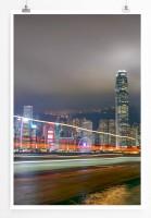 Poster Hongkong bei Nacht