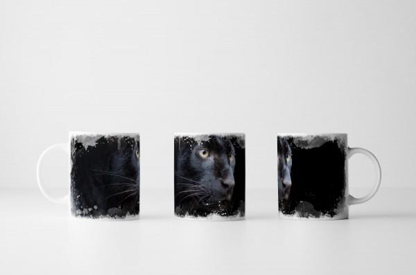 Tasse Schwarzer Panther mit dunklem Hintergrund
