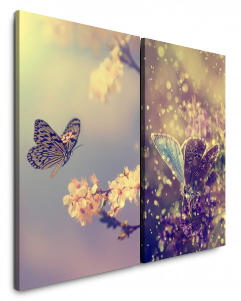 2 Bilder je 60x90cm Kirschblüte Schmetterlinge Frühling Nahaufnahme Kirschbaum Harmonie Makrofotogra