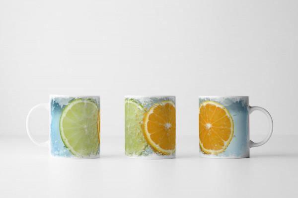 Tasse Aufgeschnittene Limette und Orange
