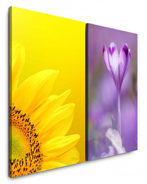 2 Bilder je 60x90cm Sonnenblume Gelb Blumen Blüte Lila Makro Sommer