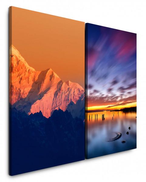 2 Bilder je 60x90cm Berge Gletscher Orange Sonnenuntergang Horizont Meer Wolken