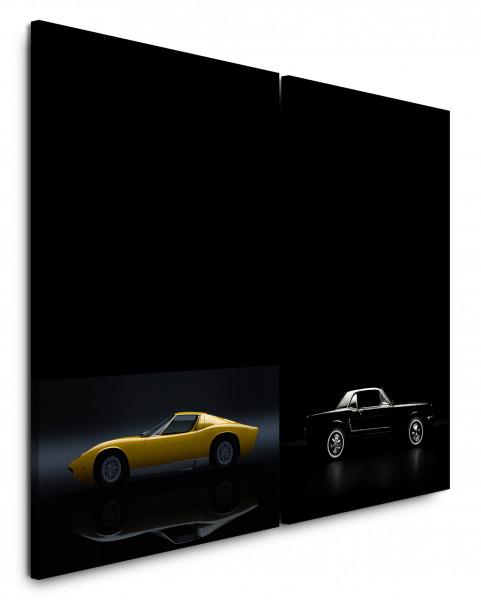 2 Bilder je 60x90cm Ford Mustang Gt Oldtimer Schwarz Supercar Traumauto