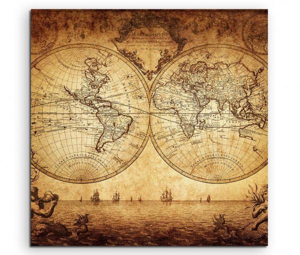 Leinwandbild Weltkarte von 1733 Oldstyle in Sepia