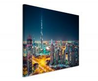 Premium Leinwandbild Dubai Skyline bei Nacht