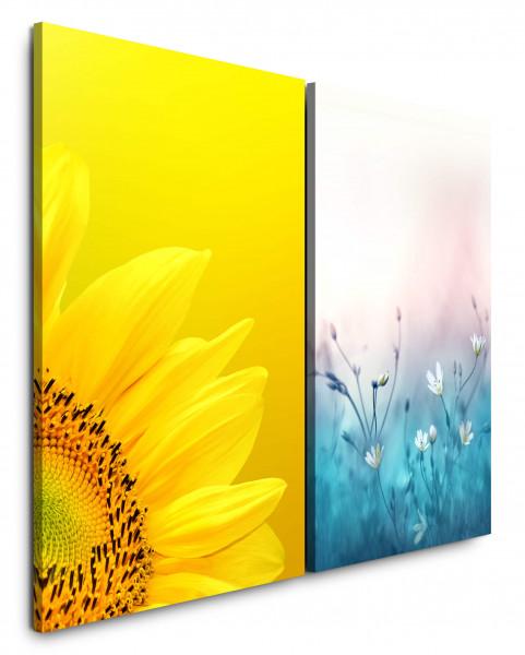 2 Bilder je 60x90cm Sonnenblume Gelb Frühling Blumen Blau Gänseblümchen Makro