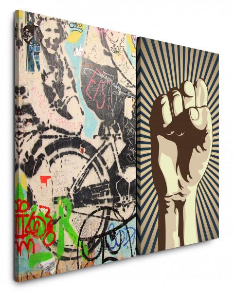 2 Wandbilderje 60x90cm Streetart Graffiti Revolution Faust Wall Wand Fahrrad