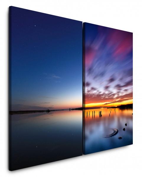 2 Bilder je 60x90cm Horizont Nachthimmel Abenddämmerung See Meer Weitblick Sonnenuntergang