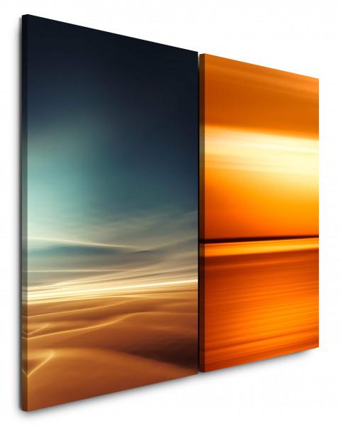 2 Bilder je 60x90cm Wüste Sahara Gold Orange Sonne Horizont Wolken
