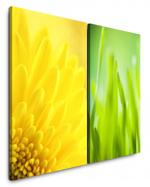 2 Bilder je 60x90cm Dahlie Gelb Grashalme Grün Frühling Sommer Erfrischend