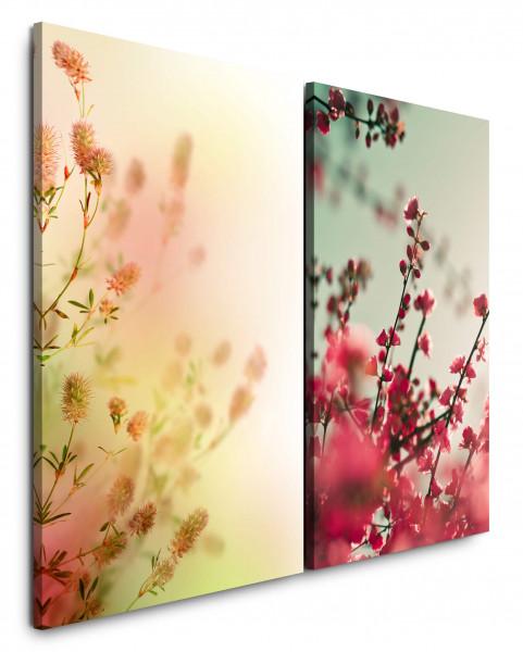 2 Bilder je 60x90cm Kirschblüte Äste Frühling Kirschzweig Kirschbaum Japan Rosa